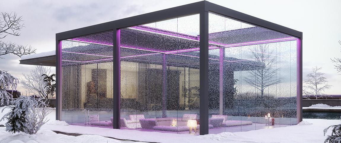 Pergola bioclimatica Freedom. Pergole de Lux terasă pregătită pentru iarnă cu pergolă și sticlă