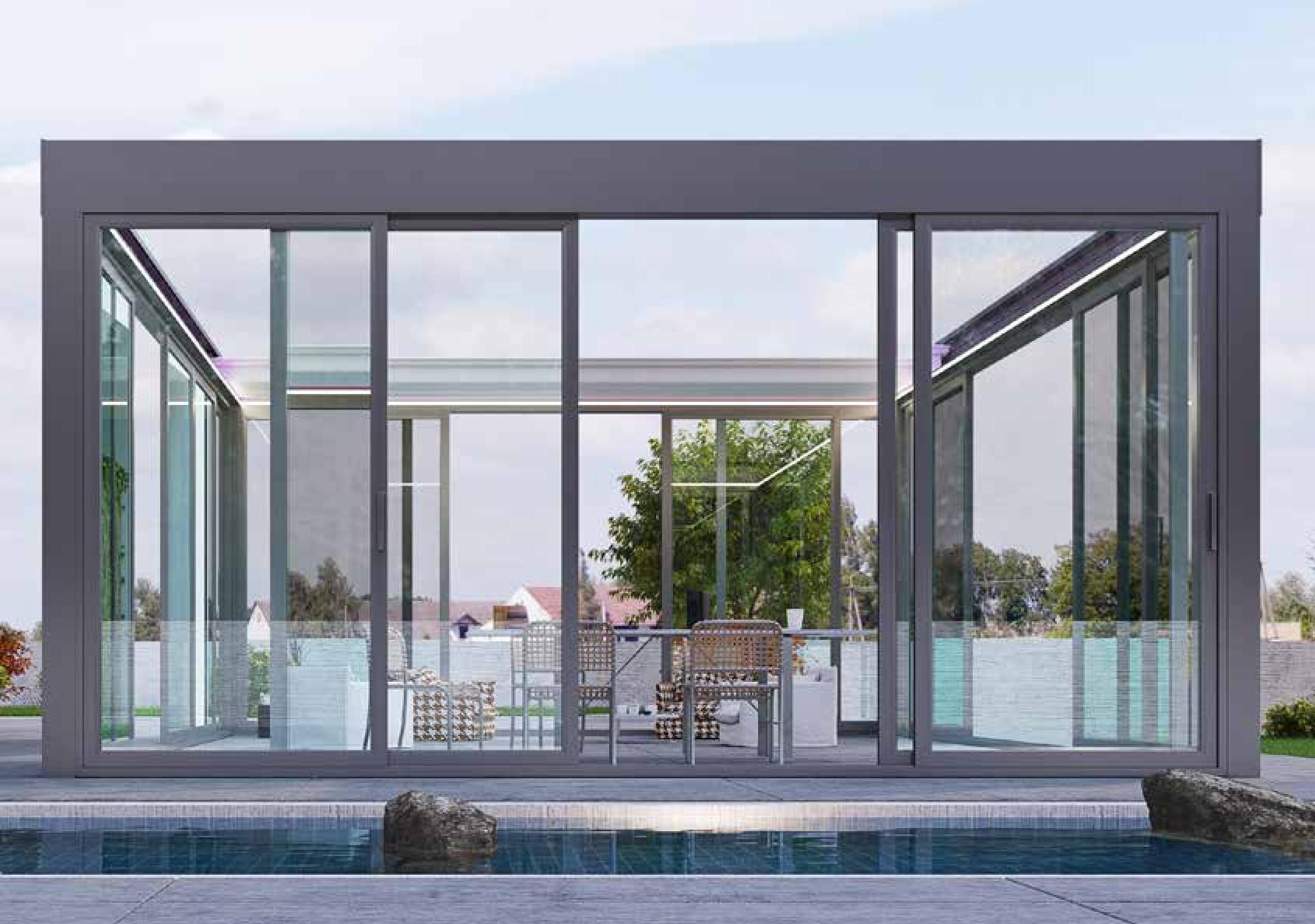 Pergola Bioclimatica Pergole de Lux. Cum sa ai o terasa pregatita pentru iarna cu pergola si sticla. terasă pregătită pentru iarnă cu pergolă și sticlă
